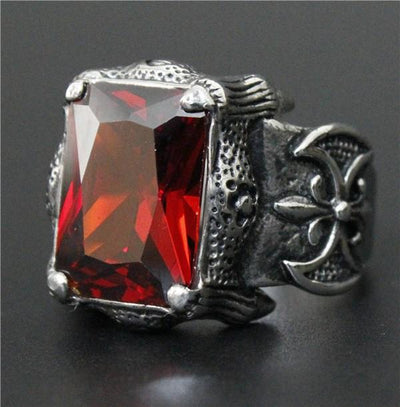 Red 'Biker Stone-Colored' Ring