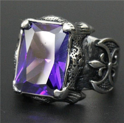 Purple 'Biker Stone-Colored' Ring
