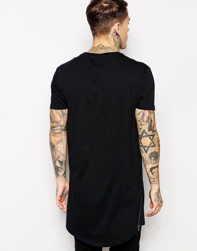 Black 'Side Zip' T-Shirt Back View