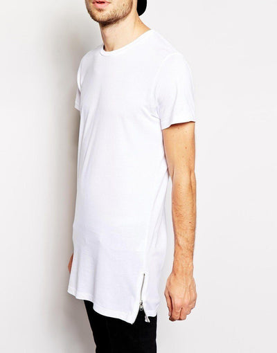 White 'Side Zip' T-Shirt Side view