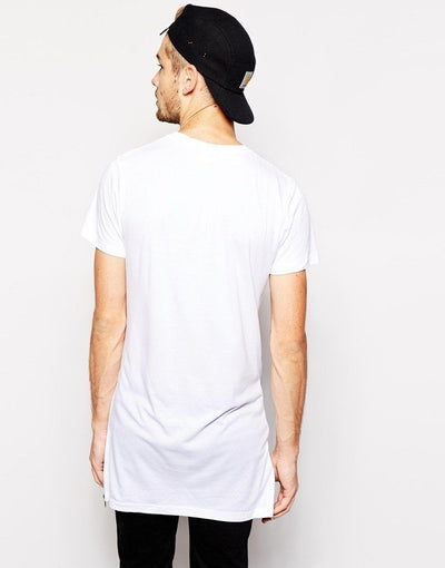 White 'Side Zip' T-Shirt Back View