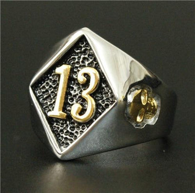 'Biker Lucky Number 13' Ring Full View