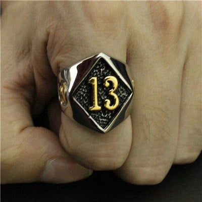 'Biker Lucky Number 13' Ring Front View