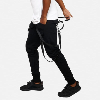 Black 'Classic Suspender' Jogger Pants Side View