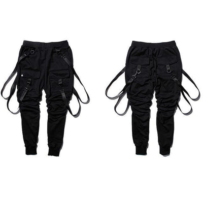 Two Black 'Classic Suspender' Jogger Pants