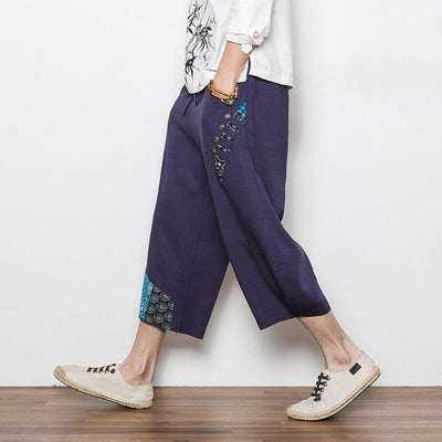 Navy Blue 'Reo' Harem Pants Full Side view