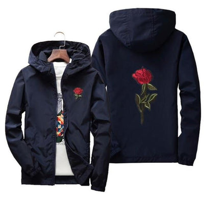 Navy Blue 'Rose' Windbreaker