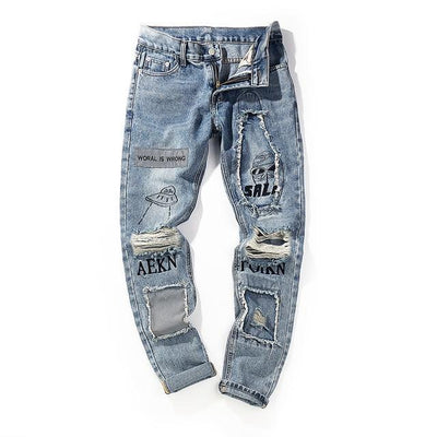 'Alien' Ripped Jeans Front-view