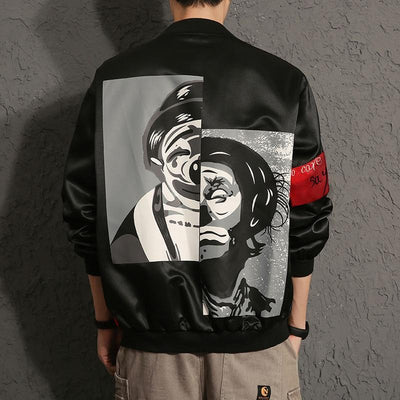 Black 'Rising Jester' Bomber Jacket
