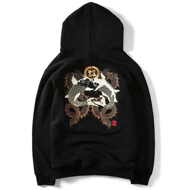 'Koi Embroidered' Hoodie Sweatshirt Black