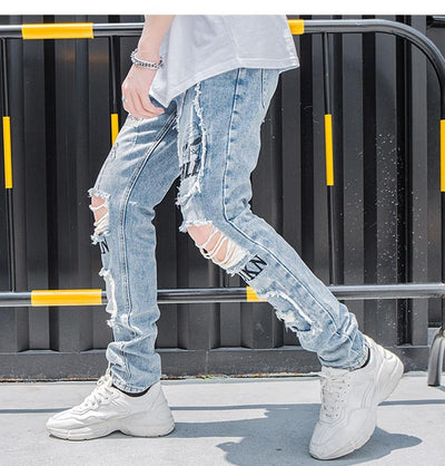 'Alien' Ripped Jeans Left Side-view
