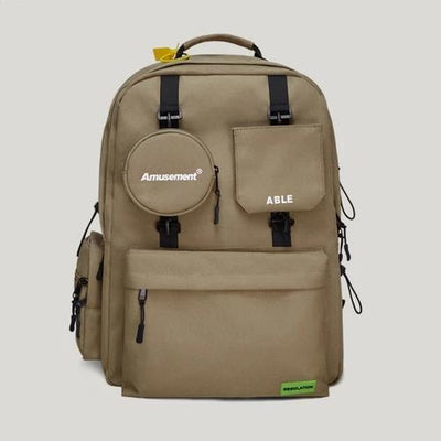 Khaki ABLE Backpack Front View