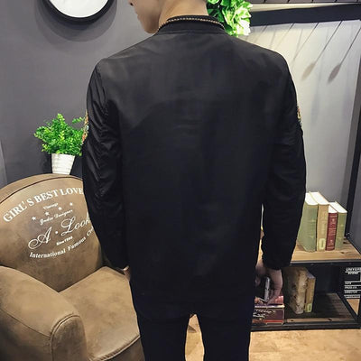 Black 'Ancient Dragon' Bomber Jacket Back View