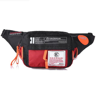 'Industrial Utilitarian' Nylon Waist Bag red