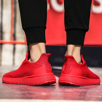 "Red ""Boosted'' Sneakers"