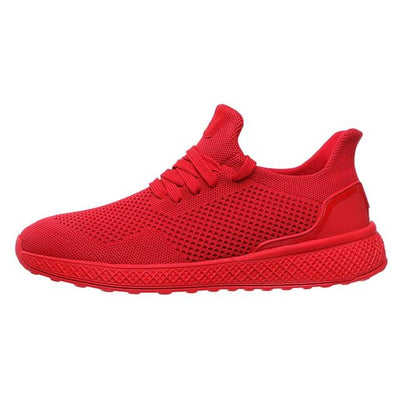 "Red ""Boosted'' Sneakers Side-view"