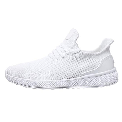 "White ""Boosted'' Sneakers Side-view"