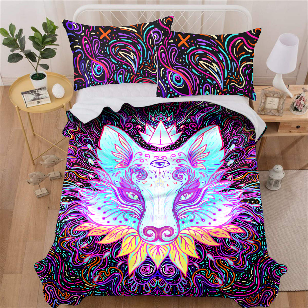 Trippy Wolf Bedding Set