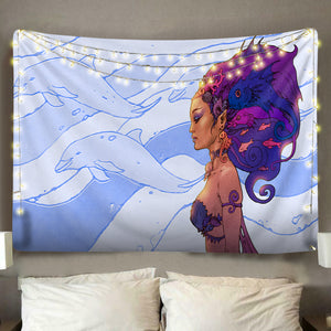 Dolphin Princess Tapestry
