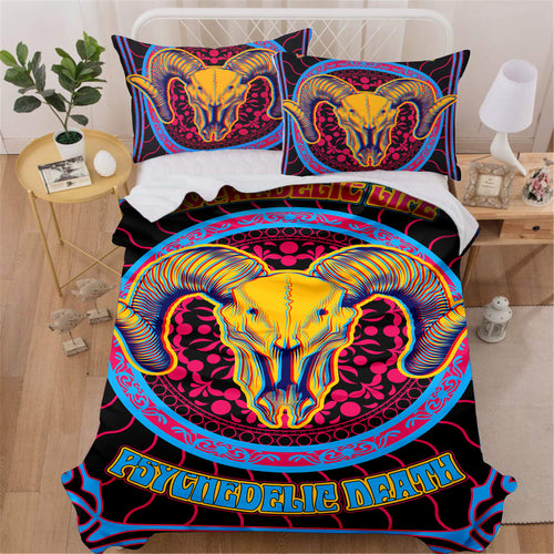 Trippy Ram Skull Bedding Set