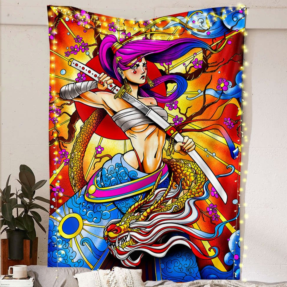 Samurai Dragon Tapestry