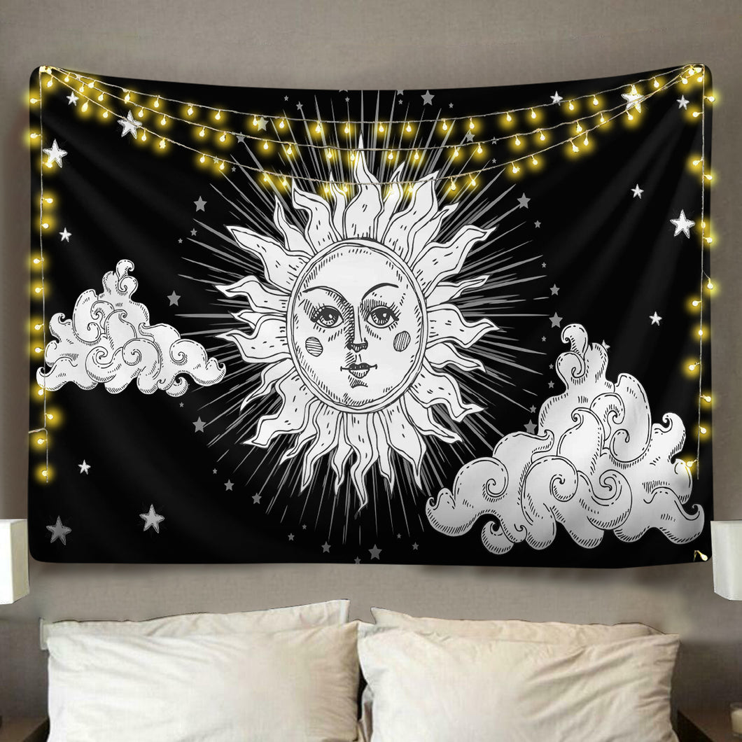 Boho Moon Clouds Tapestry