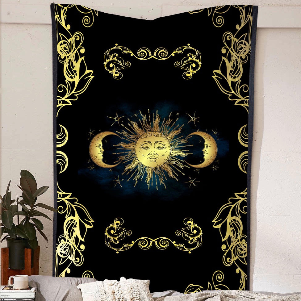 Golden Sun and Moon Tapestry