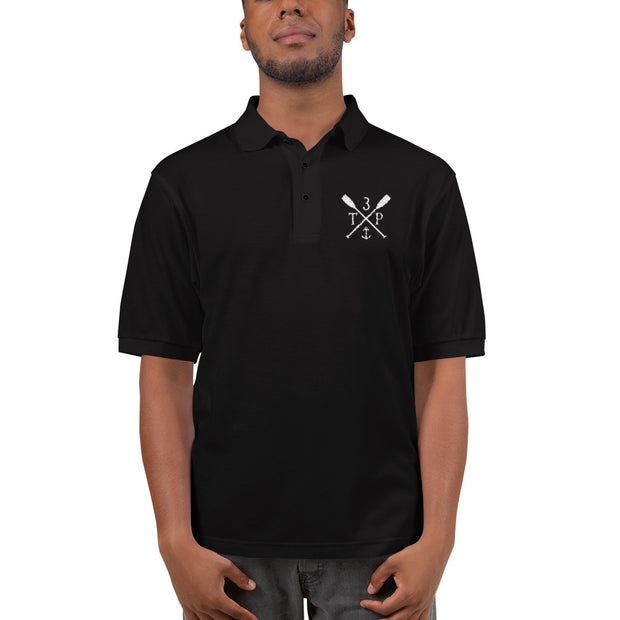 3TP Oars Embroidered Polo Shirt - Black with White
