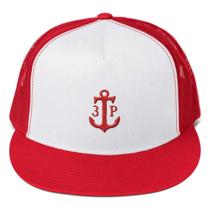 3TP Anchor Embroidered Flat Bill Trucker Cap - White Front with Red