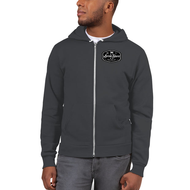 Brim Store Premium Zip Hoodie Sweatshirt with Dark Print