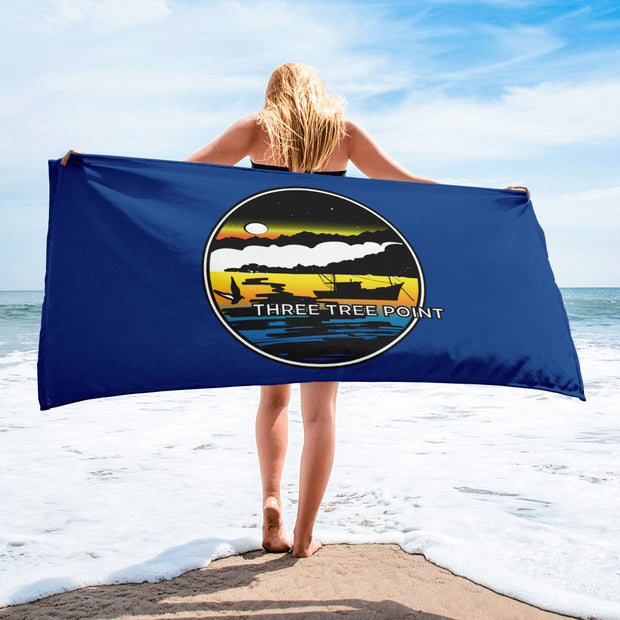 Three Tree Point Retro 80's Towel - Blue