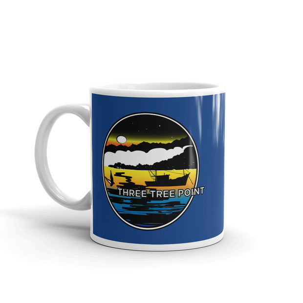 Three Tree Point Retro 80's Mug - Blue