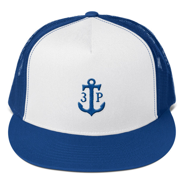 3TP Anchor Embroidered Flat Bill Trucker Cap - White Front with Royal Blue