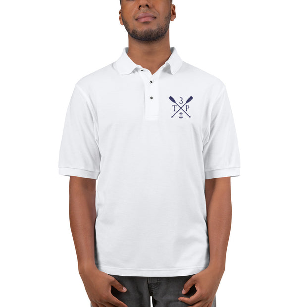 3TP Oars Embroidered Polo Shirt - White with Navy Blue