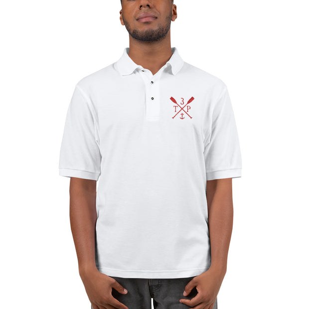 3TP Oars Embroidered Polo Shirt - White with Red
