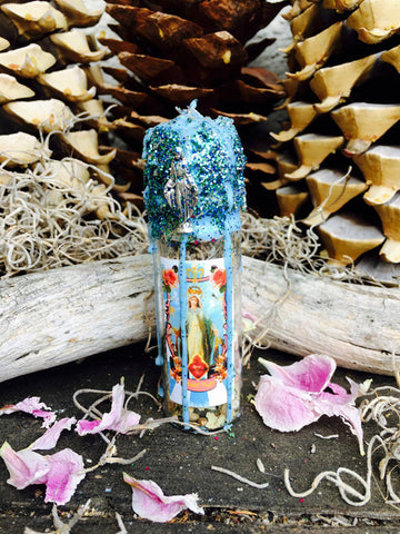 Rita's Mama Mary Witch Bottle Altar Shrine - Let it Be, Protection, Nurturing, Wisdom, Guidance, Peace