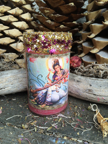 Rita's Saraswati 2 Day Hoodoo Ritual Candle - Divine Inspiration for Success Through Creativity