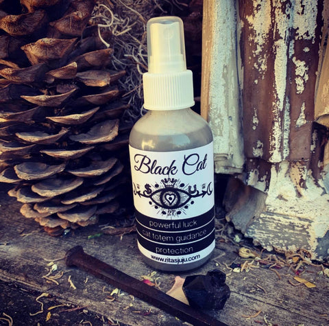 Rita's Black Cat Hand Spiritual Mist Spray for Powerful Luck, Reveal Mystery, Protection, Call on Guardian Cat Spirits