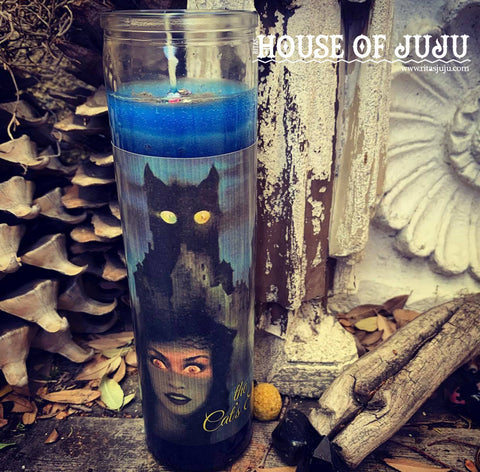 Rita's Cat's Eye 7 Day Hoodoo Ritual Candle -  Ward off Evil Eye, Hex, Protection, Insight, Psychic Intuition, Fire