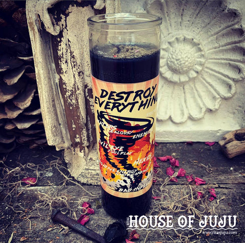 Rita's Destroy Everything 7 Day Hoodoo Ritual Candle - Remove Hexes, Banish Negativity, Return a Curse