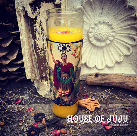Rita's Saint Expedite Ritual Hoodoo 7 Day Candle for Fast Luck, Prompt Solutions, Put an End to Delays, Prosperity
