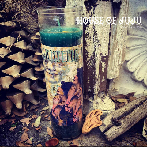 Rita's Grateful AF Hoodoo 7 Day Ritual Candle, Practice Gratitude, Thank the Higher Powers for Their Help, Be Grateful for Everyday Blessings