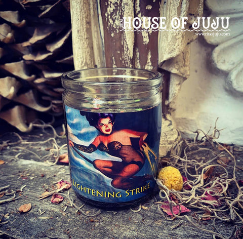 Rita's Lightening Strike 2 Day Hoodoo Ritual Candle - Knock Enemies Down, Conjure a Storm,  Protection, Cast Away Unwated Energy, Empower
