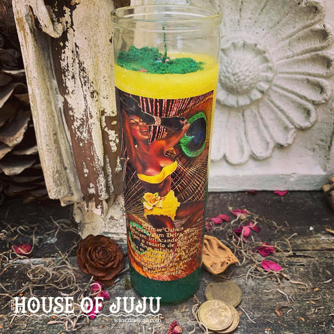 Rita's Oshun 7 Day Hoodoo Ritual Candle for Transformation, Empowerment, Beauty, Creativity, Answer Prayers