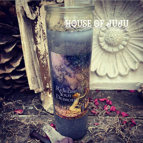 Rita's Release Your Demons Ritual Hoodoo 7 Day Candle - Cleanse, Let Go, Release, Transformation, Rebirth, Peace