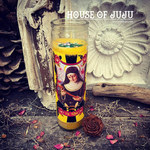 Rita's St. Rita Ritual Altar 7 Day Hoodoo Ritual Candle for Impossible Wishes and Causes, Help in Abusive Relationships