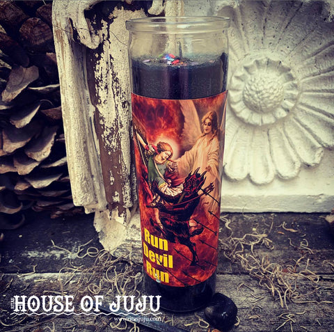Rita's RUN DEVIL RUN 7 Day Hoodoo Ritual Candle - Hex, Banish, Reverse, Protect, Send Evil Doers Far Away