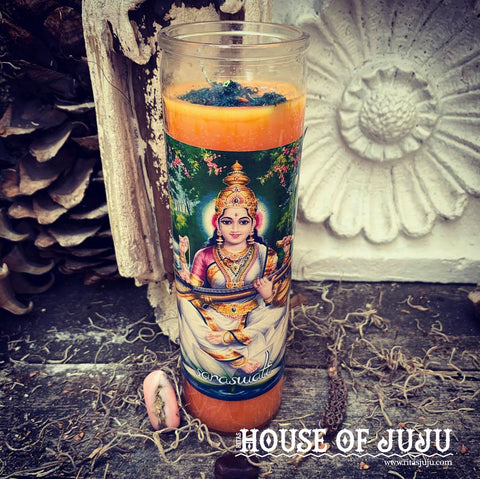 Rita's Saraswati 4 Day Hoodoo Ritual Candle - Divine Inspiration for Success Through Creativity