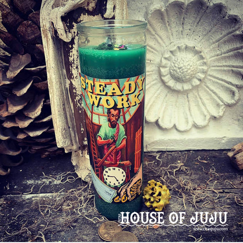 Rita's Steady Work 7 Day 2 Color Hoodoo Ritual Candle to Help Get a Job, Keep a Job, Steady Income