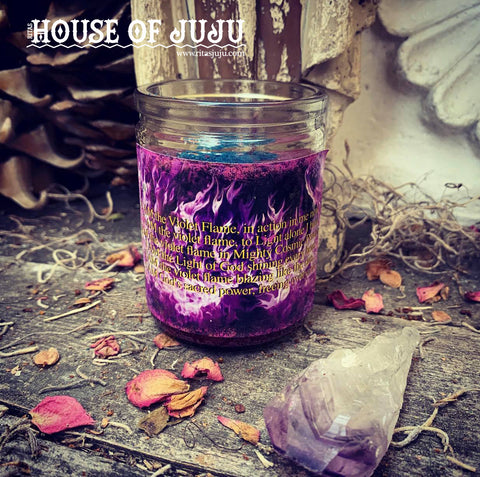 Rita's Violet Flame 2 Day Hoodoo Ritual Candle to Heal Karmic Debt, Cleanse a Bad Karmic Cycle